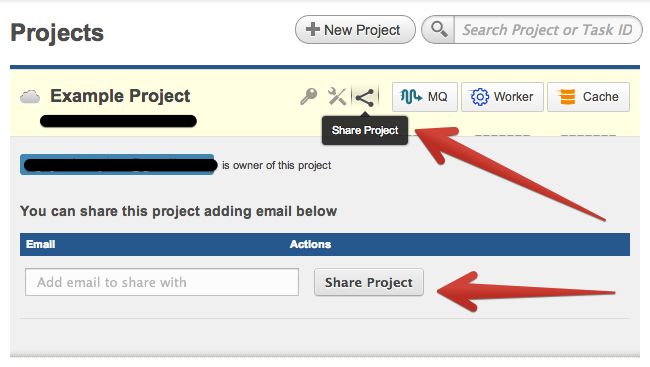 how to share projects on iron hud iron.io